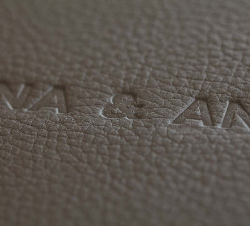 Embossed text in leather
